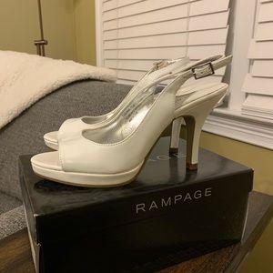 Rampage Fabiana white patent heels